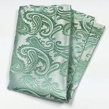 Pastel Mint Green Paisley Design Hankie Hankerchief Pocket Square Hanky Wedding