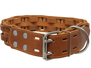 "Braided Dog Collar Genuine Leather 23""-27"" neck 1.75"" wide Brown Bullmastiff"