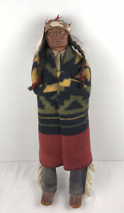 """17"""" Vintage Old Native American Indian Chief Skookum Doll Great Condition."""