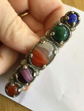 Vintage Miracle Brooch - Scottish Celtic, Glass Amethyst Citrine Agate, signed