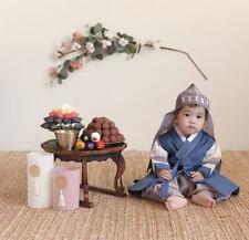 Korea hanbok boy babyTradition Vest and Hat Jeonbok// Bokgun dark navy gold print