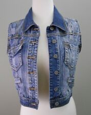 MISS POSH Jeans Vest Fits Women's SMALL (Tag Sz 10) Distressed Patched Denim EUC