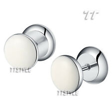 TT Clear Epoxy White Head Surgical Steel Fake Ear Plug Earrings (BP06)