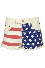 TOPSHOP MOTO flag printed hotpants UK 8 in Multi - New