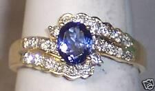 14K YELLOW GOLD OVAL TANZANITE & DIAMOND RING SIZE 7.5 WITH 2 ROWS OF DIAMONDS