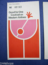 WESTERN AIRLINES VINTAGE GOOD FOR ONE COCKTAIL TICKET -