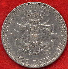 EXTREMELY RARE PENINSULAR WAR 500 REIS SILVER PORTUGAL COIN 1910 VF!!!