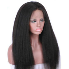 IK- Kinky Yaki Straight Lace Front Long Wig Women Girl Looking Party Wig Natural