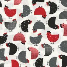 Fabric Chickens Red Black Grey KAUFMAN Cotton 1/4 yard 7203