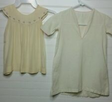 Vtg 40s/50s Delicate Silk Dress w Embroidered Collar & Cotton Gown 9/12 Mos?