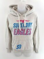SUPERDRY Womens Hoodie Jumper XS Grey Cotton & Polyester