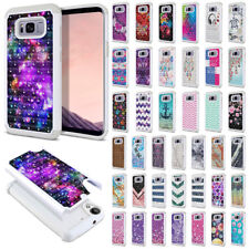 For Samsung Galaxy S8+ Plus G955 Bling Hybrid Hard Rubber Silicone Case Cover