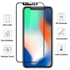 For Apple iPhone X BLACK 3D Curved Full Cover Tempered Glass Screen Protector NE