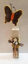 Holz Schmetterling Stele Deko Skulptur Frühling shabby vintage Blume Moos