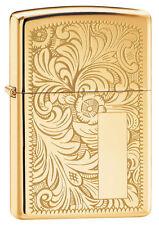 Zippo 352B, Venetian, Full Size, Design Front & Back, High Polish Brass Lighter