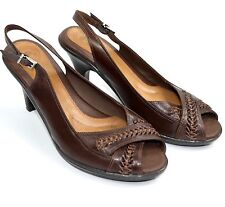 Nurture Shimmer 9.5 M High Heel Pumps Brown Leather Slingback Peep Toe Sandals