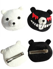 Danganronpa Junko Enoshima Cosplay Wig Prop + Black White Bear Hairclips Hairpin