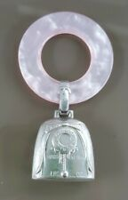 Vintage Web Sterling Silver Baby Rattle Teething Ring Birth Record Pink Mop