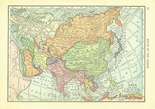 1911 Handy Atlas Vintage Map Pages - Asia on one side and Russia on the other.