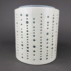 Yankee Candle Addison Jar Candle Holder Sea Glass Green Insert Cream Dots