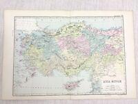 1892 Antik Map Of Asien Minor Aleppo Mittlere East 19th Jahrhundert G W Bacon