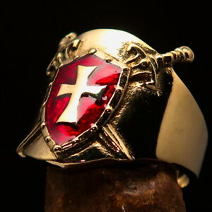 MENS TEMPLAR KNIGHT CROSS BRASS RING CROSSED SWORDS BEHIND SHIELD RED SIZE 10