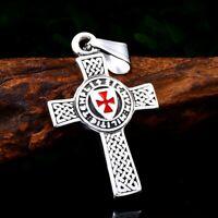 Templer Kreuz Kreuzfahrer Anhänger Edelstahl Kette silber rot Kreuzritter Wappen