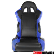 (Passenger Right Side) Black/Blue PVC Leather Racing Reclinable Seat W/ Sliders