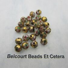 100 - 8mm Round Cloisonne Loose Beads - Pink Design on Gold Bead Floral Pattern