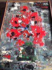 Michel Contou huile sur toile bouquet de coquelicots 1974