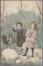 Vintage 1900s Easter Postcard Children Eggs Chicken Cockerel S'd E. Bruning