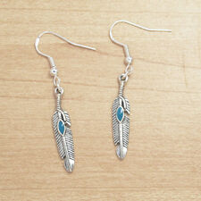 Vintage Silver Alloy Dangle Blue Feather Turquoise Earrings 925 Sterling Hooks