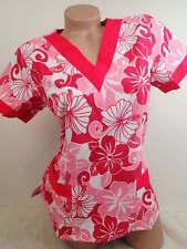 New Women Nursing Scrub Pink Floral Polyester Top  Size S