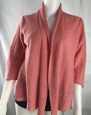 EILEEN FISHER 100% hemp Pink Light Coral  open front cardigan women's XS *7