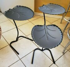 RARE Mid Century Nesting SET 3 Salterini Tempestini Black Powder LILY PAD TABLES