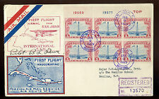 FAM 6 CAPT BASIL ROWE SIGNED REGISTERED COVER WITH SCOTT #C11 PLATE BLOCK (555)
