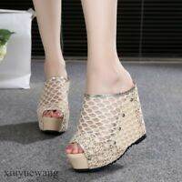 Womens  Sandals Peep Toe Mesh Hollow Out Slippers High Platform Wedge Heel Shoe