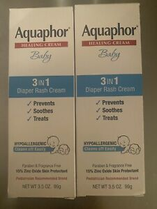 2 Aquaphor Baby 3-in-1 Diaper Rash Cream, Hypoallergenic, Fragrance-free, 3.5 oz
