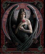 New Anne Stokes Angel Rose Fairy Plush Throw Gift Blanket Sherpa Gothic Soft NIP