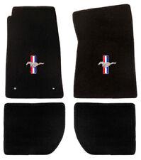 New 1965-1973  Mustang Floor Mats Black Running Horse Pony Bars Embroidered Logo
