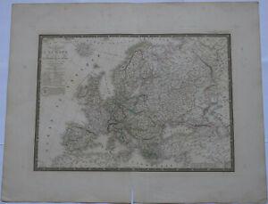"""Original 1836 Europe - Brue Atlas 26"""" x 21"""" huge map - Antique #2"""