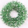 Couronne / Guirlande de Noël 37cm - Vert et Argent avec Mini Etoiles Argenté