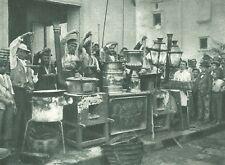 G0024 Napoli - Vendita di maccheroni - Stampa antica del 1923 - Old Print