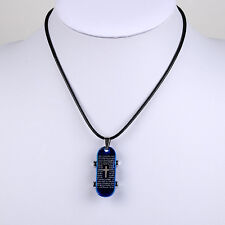 "Fashion Jewelry Blue Skateboard  pendant  Black Leather Necklace 18"" X199"