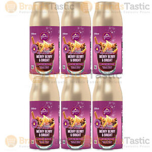 6 X GLADE AUTOMATIC SPRAY ROOM AIR FRESHENER REFILLS MERRY BERRY & BRIGHT 269ML