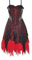 Ladies Black Red Gothic Steampunk Medieval Velvety Satin Lace Dress Size 10-16