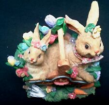 """Beautifully Detailed  4 inch Resin """"Rabbits in a Basket of Flowers"""" Collectible"""