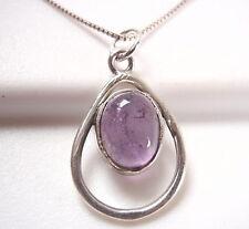 Amethyst Oval in Hoop 925 Sterling Silver Pendant Corona Sun Jewelry