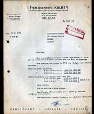 """LES LILAS (93) USINE de CAOUTCHOUC & EBONITE / TUBE TUYAU """"Ets KALKER"""" en 1954"""