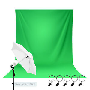 Green Screen Photo Backdrop with Studio Light Umbrella Kit, Clamps, Photography